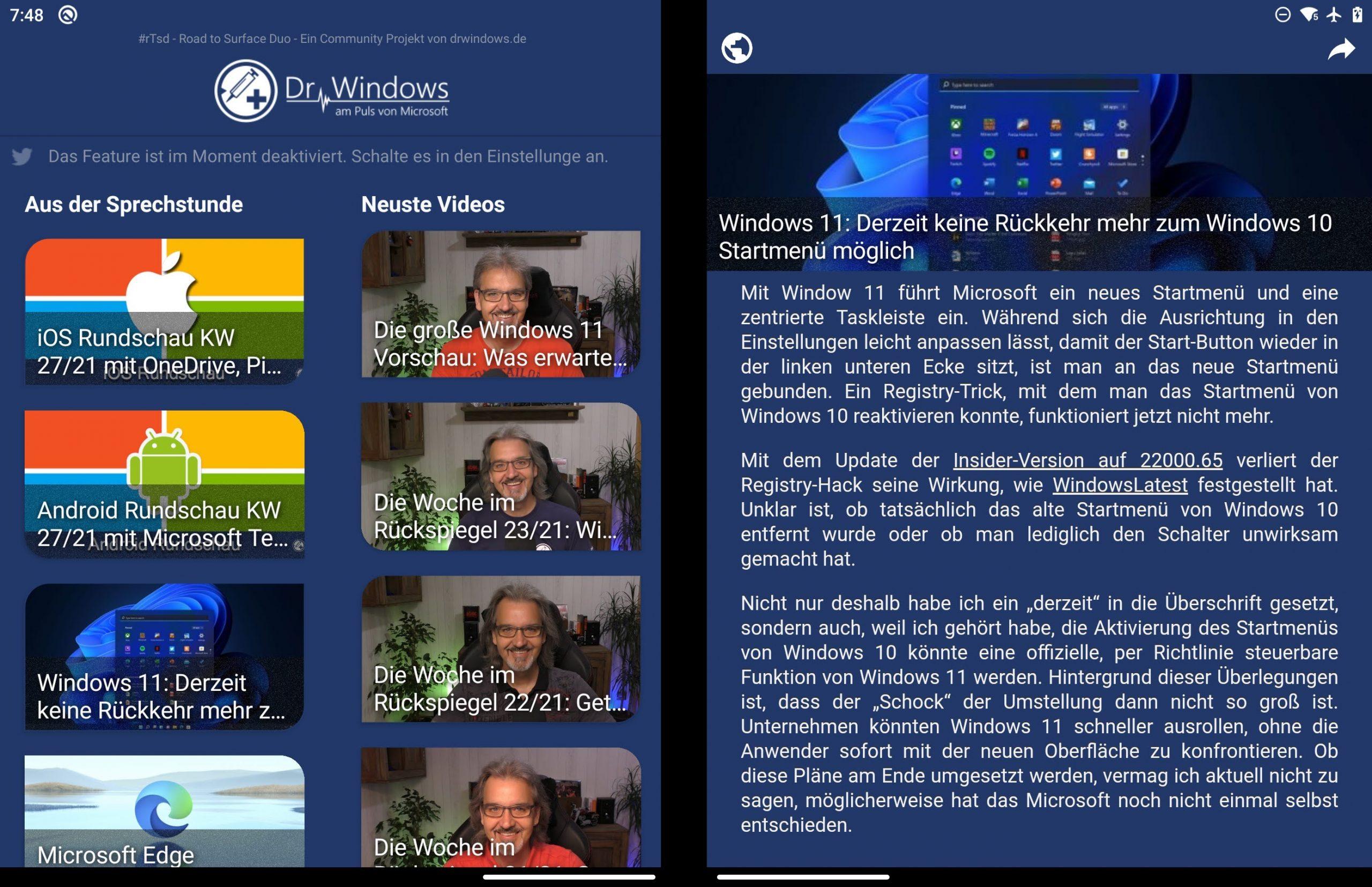 Der DrWindows-Reader auf dem Surface Duo