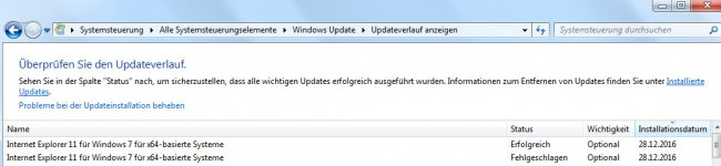 Internet Explorer 11 Update Fehler