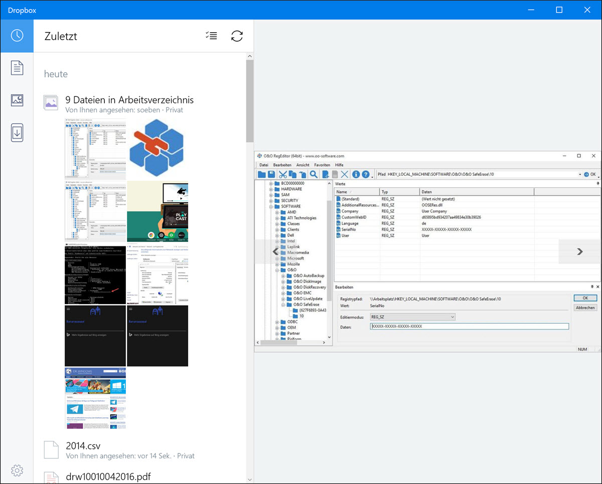 dropbox: windows 10 universal app bringt windows hello, Einladungen