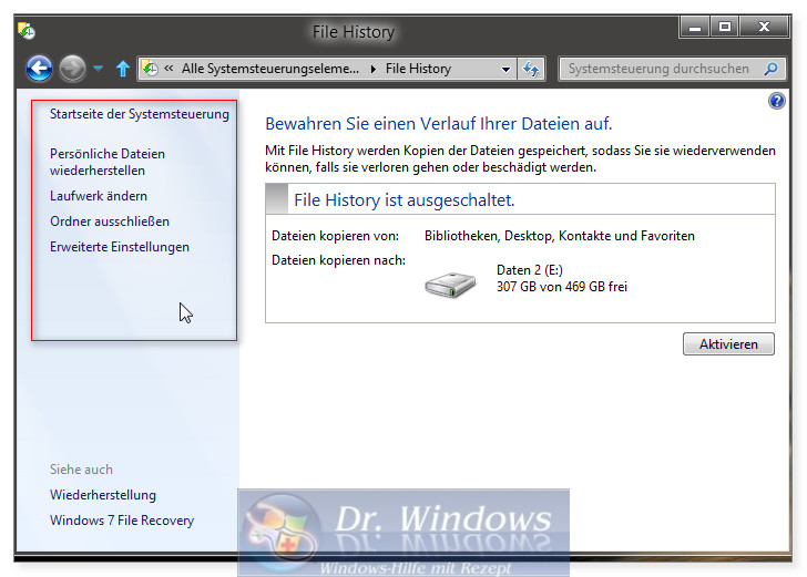 dateiversionsverlauf aktivieren windows 10