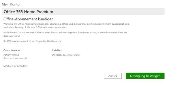 Office 365 Home Premium kündigen - Anleitung