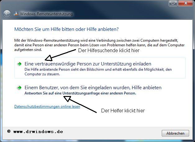 windows-remoteunterstützung mit easy connect verwenden, Einladung